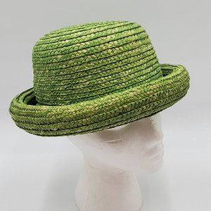 Bowler –Style Vintage Green Straw Hat